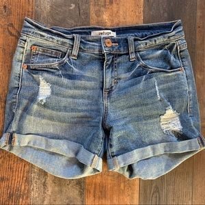 Women's Refuse Distressed Shortie Shorts